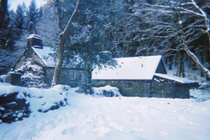 hut in snow